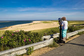 Sight-seeing Woman at a Cape Cod Beach — Stock Photo