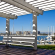 Bench with a Marina View — Stock Photo