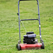 Red lawn mower — Stock Photo
