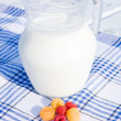 Milk and raspberry - Stock Photo