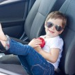 Boy with glasses and apple sitting in car - Stock Photo