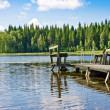 Dock or pier on lake in summer day. Finland — Stock Photo #14282129