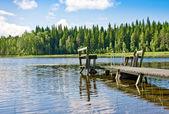 Dock of pier op lake in zomerdag. finland — Stockfoto