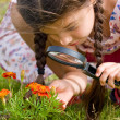 Girl sees flowers through magnifying glass - Lizenzfreies Foto