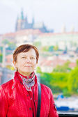 Traveller against Prague's sights — Stock Photo