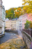 River Tepla with warm water on October 11, 2013 in Karlovy Vary, Czech republic — Stock Photo