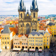 Old town square and Church of Virgin Maria Before Tyn, Prague, Czech republic — ストック写真