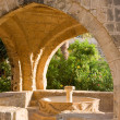 Octagonal fountain in courtyard of monastery. Ayia Napa, Cyprus — Stock Photo
