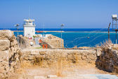 Summer view of sea through barbed wire from fortress Othello. Famagusta. Northern Cyprus — Stock Photo