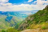 View of valley from the monastery of Montserrat, Catalonia, Spain. Height of about 1000 m above sea level — Stockfoto