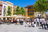 TARRAGONA,SPAIN - JUNE 29:School band perform at Plaza del Rei against Museo Nacional Arqueologico on June 29,2013 in Tarragona,Spain — Stock Photo