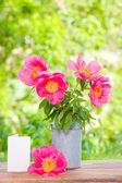 Pink peonies in metal vase, gift and empty card — Stock Photo