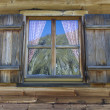 Window of a typical mountain hut in Italy, Europe — Stock Photo