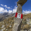 Tall stone marking a hiking trail in northern Italy — Stock Photo #13667537