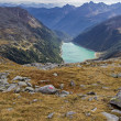 Stock Photo: Neves water reservoir in northern Italy embedded in mountain scenery