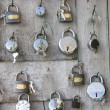 Collection of different padlocks on display in Asia — Stock Photo
