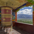 Large buddhist prayer wheel, Ladakh, India — Stock Photo
