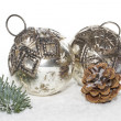 Two old christmas balls — Stock Photo