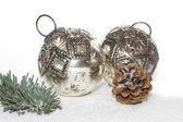 Two old christmas balls — Stock Photo