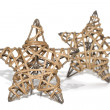 Hand made straw stars as christmas decoration — ストック写真