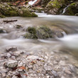 Mountain river in evening light, longtime exposure — Stock Photo