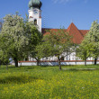 Typical bavarian church and spring meadow - Stock Photo