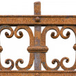 Rusted wrought iron fence on white background — Stock Photo #34837851