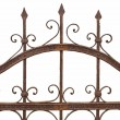 Rusted wrought iron fence on white background — Stock Photo