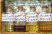 Perfume for sale on a Moroccan market, Africa — Stock fotografie