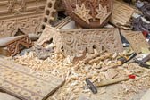 Wood carving workplace in Morocco, North Africa — Stock Photo