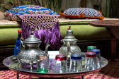 Traditional Moroccan tea service — Stock Photo