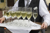 Glasses filled with champagne on a tray — Stock Photo