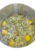 Elderflower, lemon and water in a pot — Stock Photo
