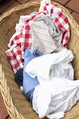 Soiled laundry in a basket — Stock Photo