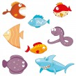 Cartoon fishes doodle icon set — Stok Vektör