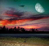 Magical evening on the ocean and the moon — Stock Photo