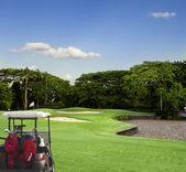 Pola golf samochód — Zdjęcie stockowe