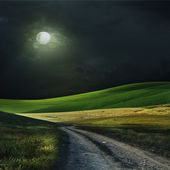 Night over a field — Stock Photo