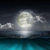 Księżyc, odzwierciedlające w jeziorze — Zdjęcie stockowe