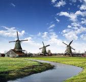 Mlýny v holandsku vesnici — Stock fotografie