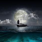 反映了在一个湖的月亮 — 图库照片