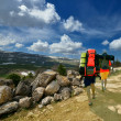 Tourists with backpacks in the mountains - Stock Photo
