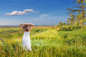Early morning in a field of flowers — Stock Photo