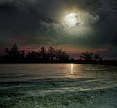 De oceaan, de zonsondergang en de maan — Stockfoto