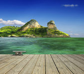 Ocean view with island — Stock Photo