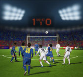Voetbalstadion vóór het match.football-team in het spel — Stockfoto