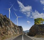 De weg, windmolens en bergen — Stockfoto