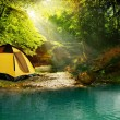 Tent in the woods — Stockfoto