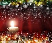 四个红色蜡烛与大气光的圣诞球 — 图库照片