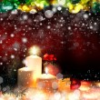 Stok fotoğraf: Christmas. Three candles and blue spruce